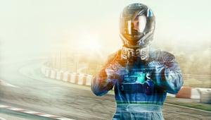 racecar driver in suit