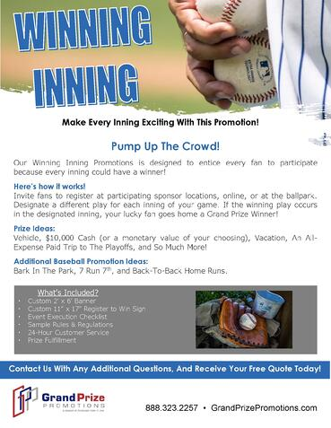 Winning Inning - Grand Prize Promotions